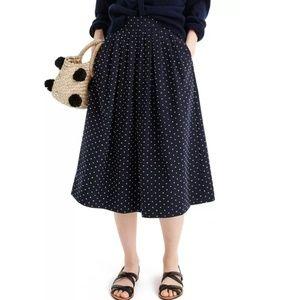 J Crew Vintage Clip Dot Midi Skirt Navy Blue J1874